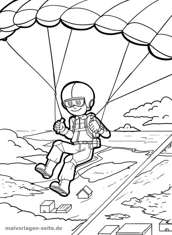 Malvorlage / Ausmalbild Fallschirmspringen