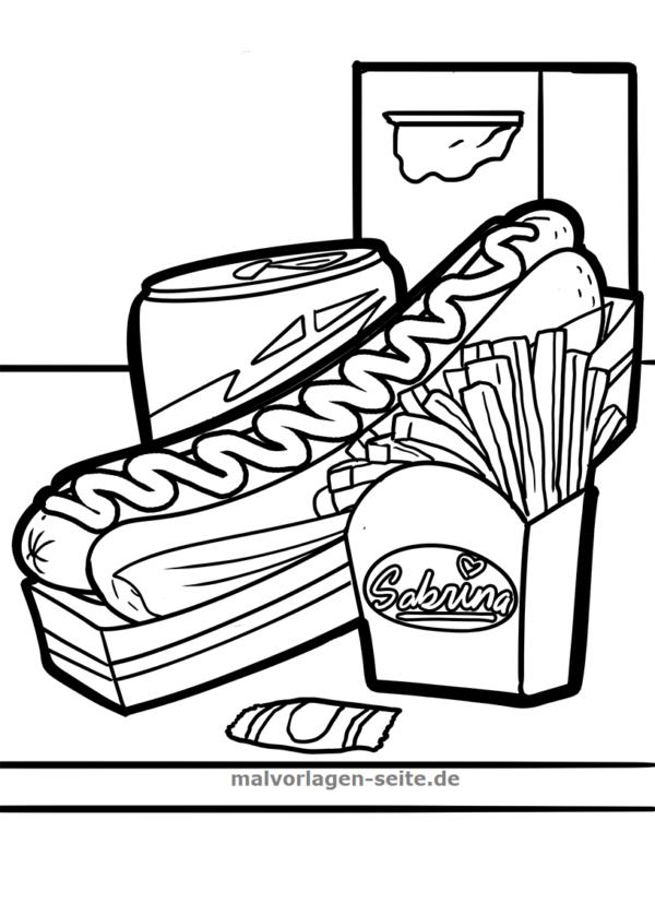 Boyama Sayfası Fast Food Indirmek Için ücretsiz Boyama Sayfaları