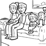 Coloring page watching TV together family