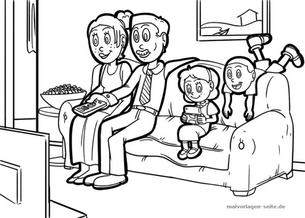 Malvorlage / Ausmalbild gemeinsam fernsehen