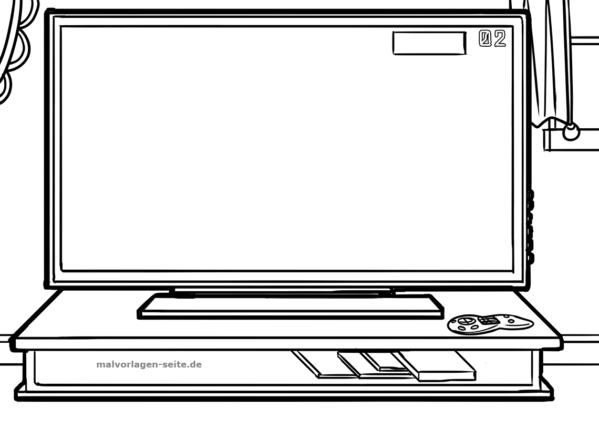 Dibujo para colorear TV | Páginas para colorear gratis para descargar
