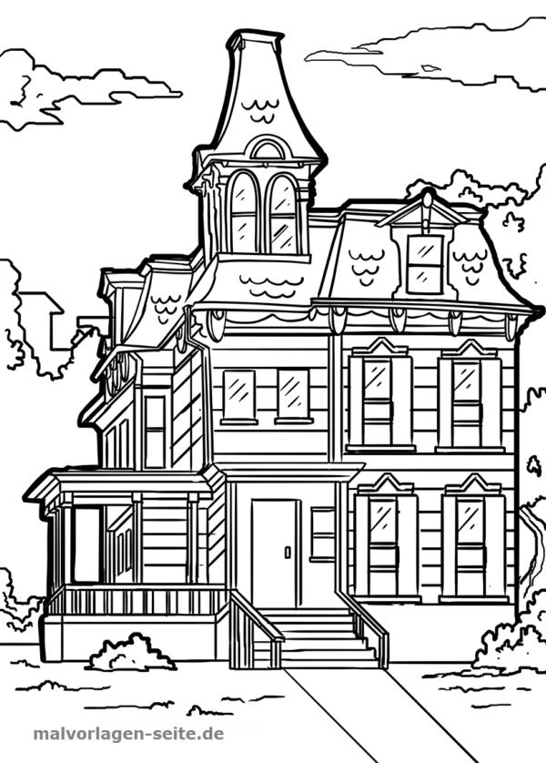Malvorlage Haus viktorianisch | Gratis Malvorlagen zum Download