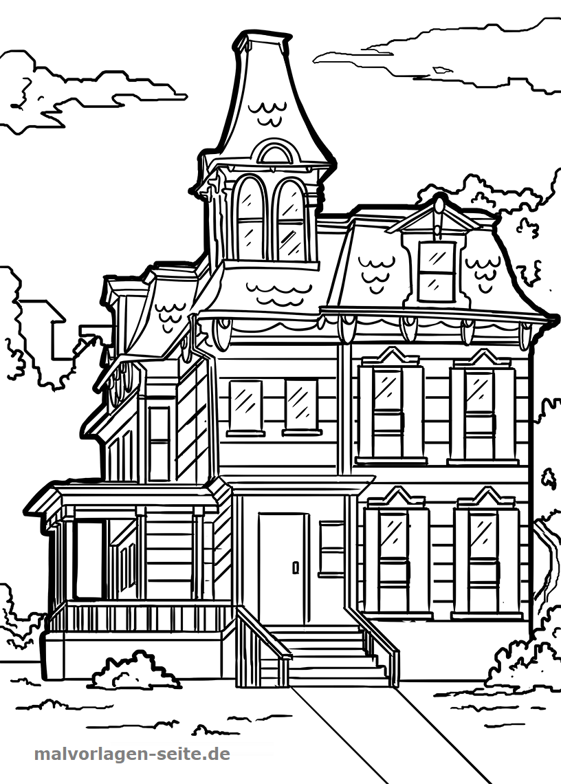Malvorlage Haus Viktorianisch Gebäude