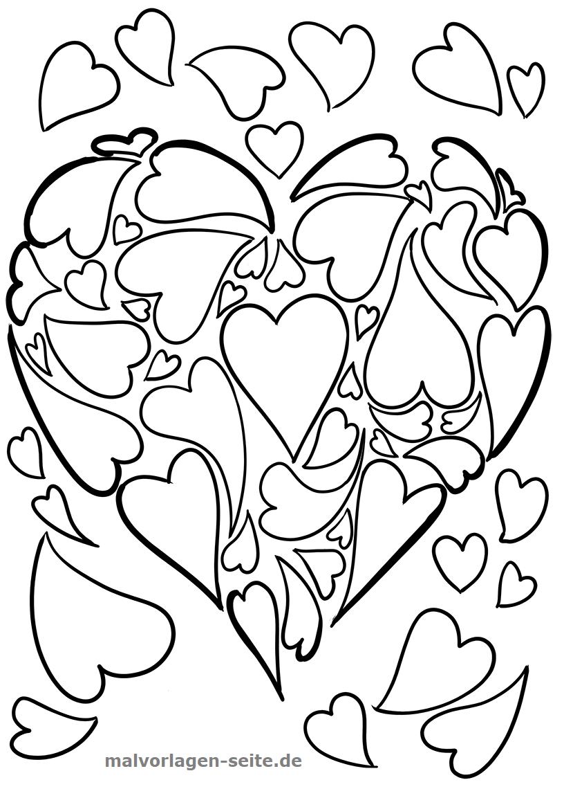Malvorlage Herz aus Herzen  Symbol - Kostenlose Ausmalbilder