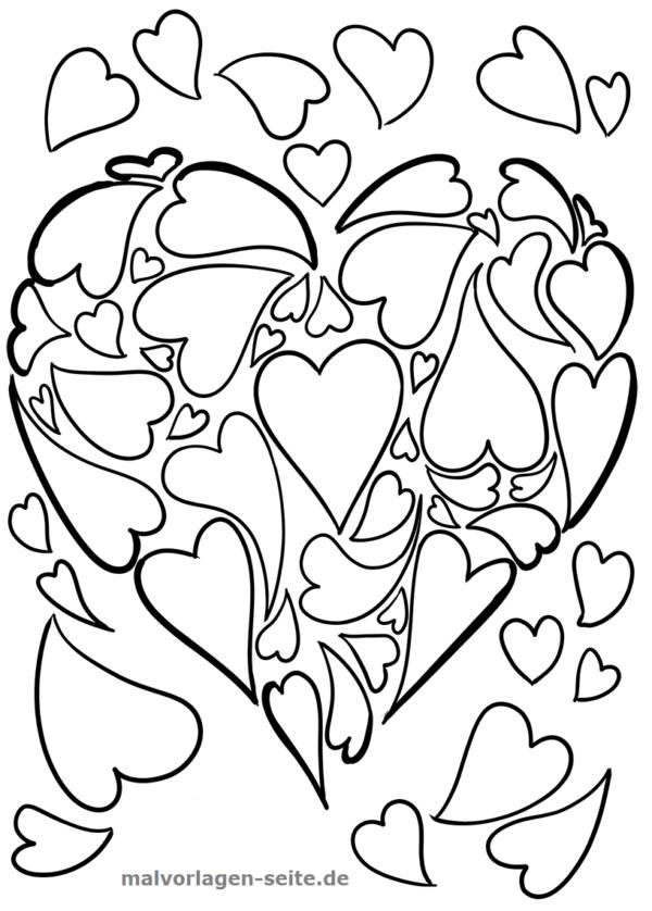 Página para colorear corazón de corazones | Páginas para colorear ...