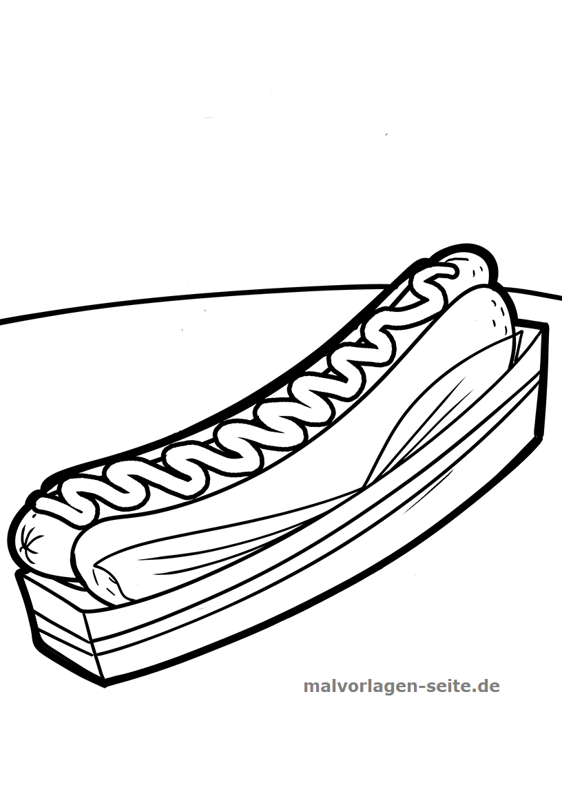 Malvorlage Hotdog Essen