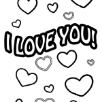 Coloring page I love you lettering