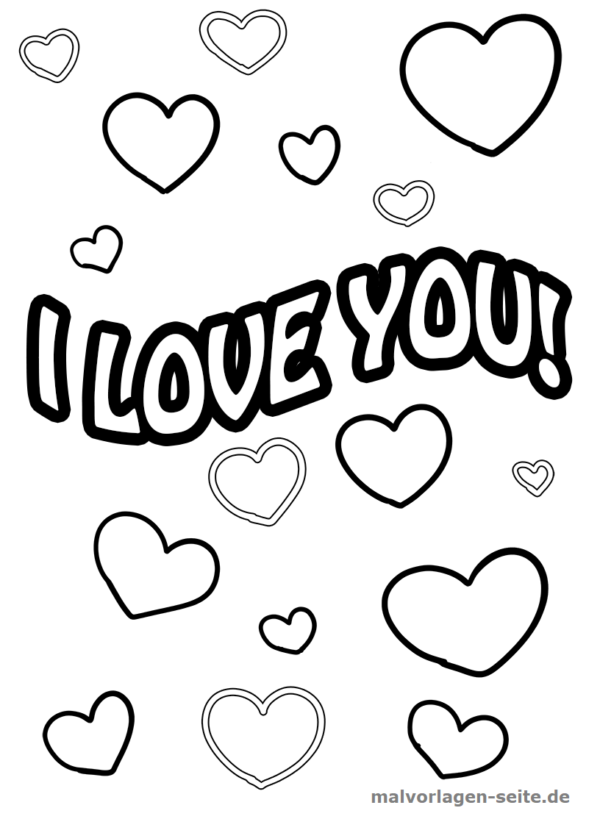 Malvorlage / Ausmalbild I love you Schriftzug