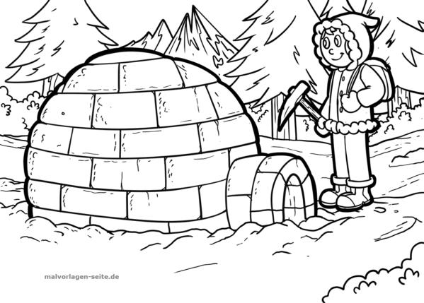 Dibujo para colorear Igloo | Páginas para colorear gratis para descargar