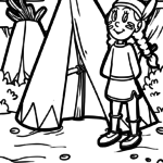 Coloring page Indian – Little Squaw and Tipi
