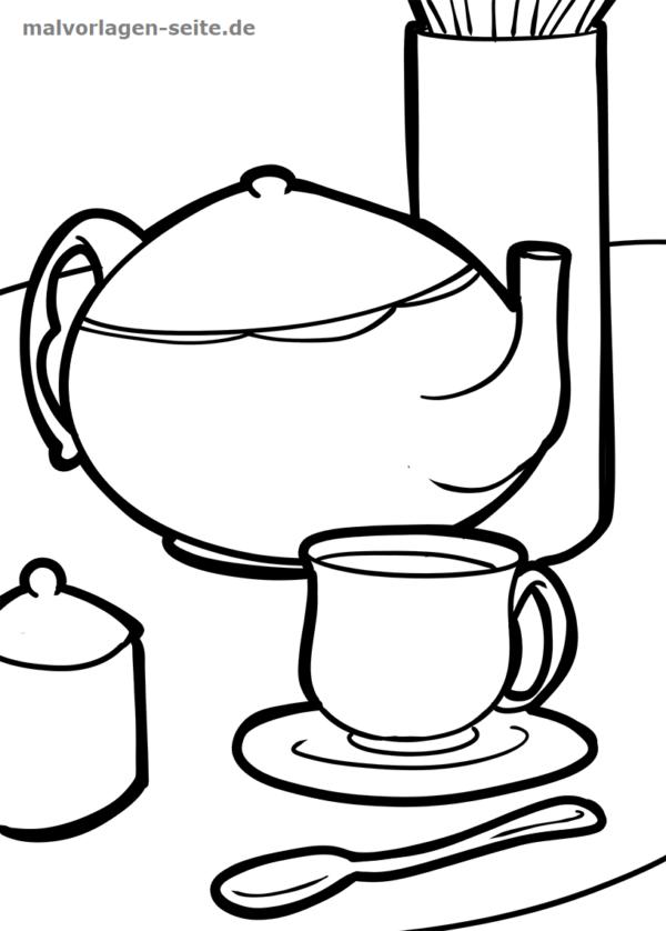 Malvorlage / Ausmalbild Kaffee / Tee trinken