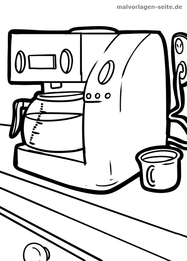 Coloring page coffee maker