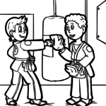 Karate e Judo - Libro para colorear de artes marciais