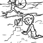 Coloring page kids on the beach - vacation