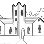 Coloring page church | building