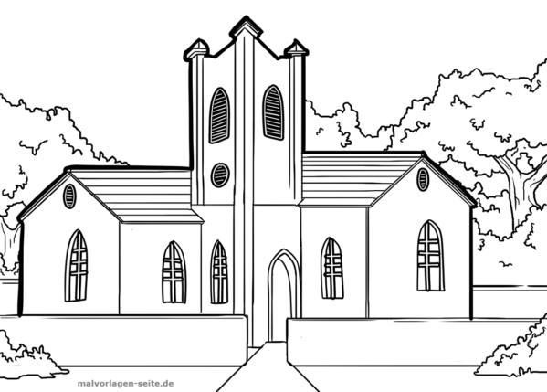 Página para colorear iglesia | Páginas para colorear gratis para ...