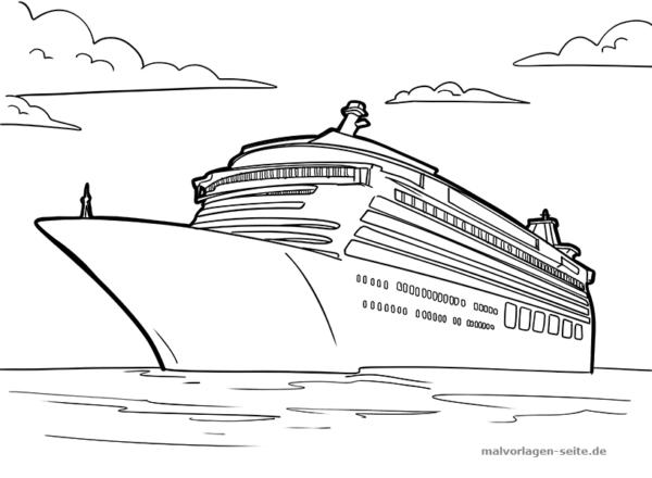 Malvorlage / Ausmalbild Kreuzfahrtschiff