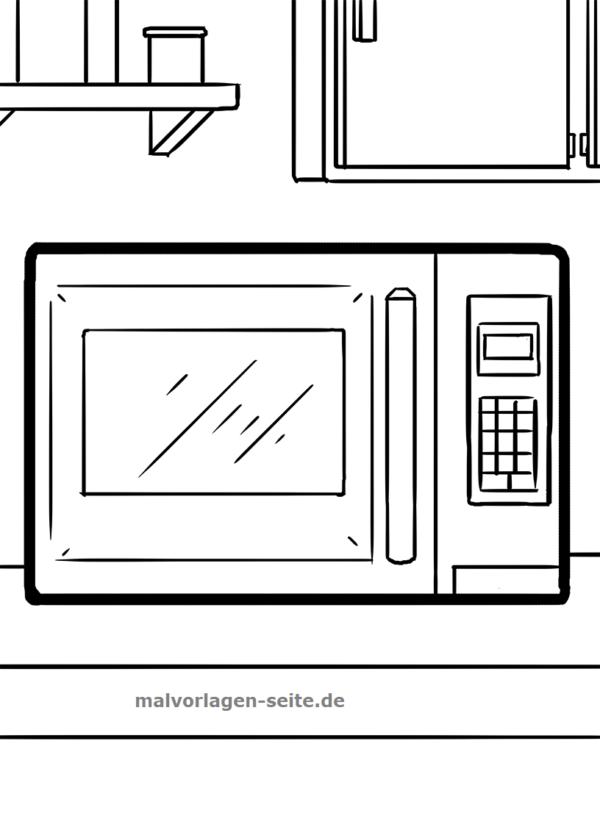 Malvorlage / Ausmalbild Mikrowelle