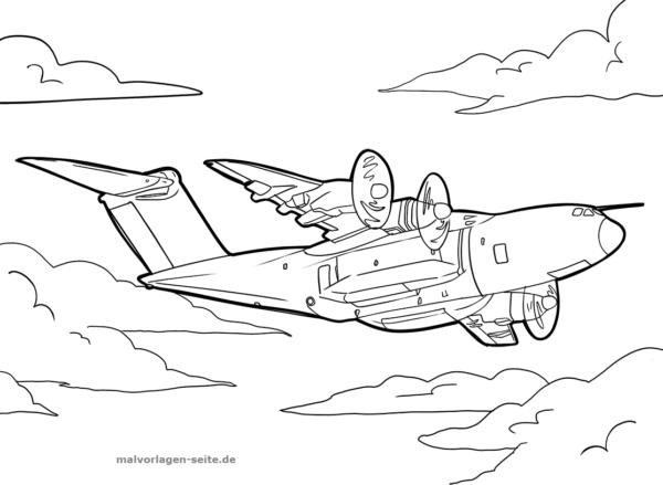 Malvorlage / Ausmalbild Militärflugzeug