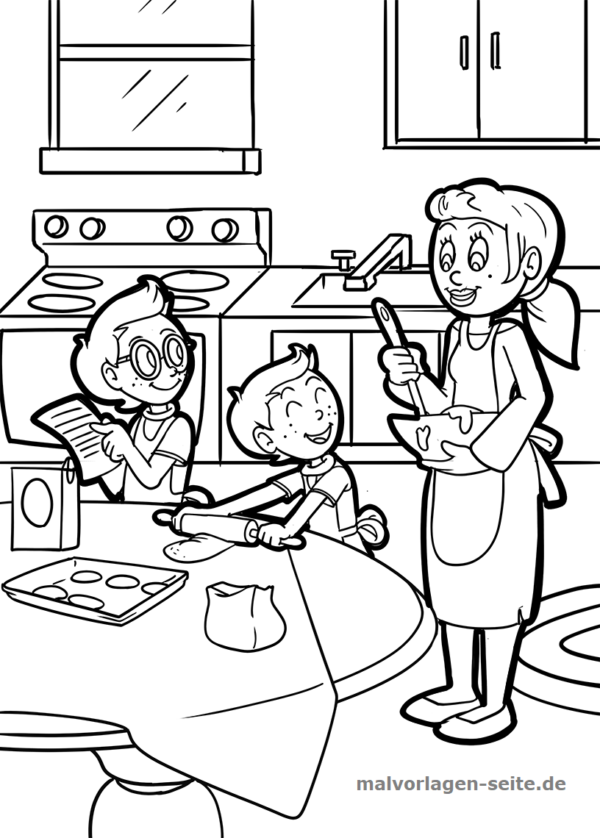 Cook coloring page together