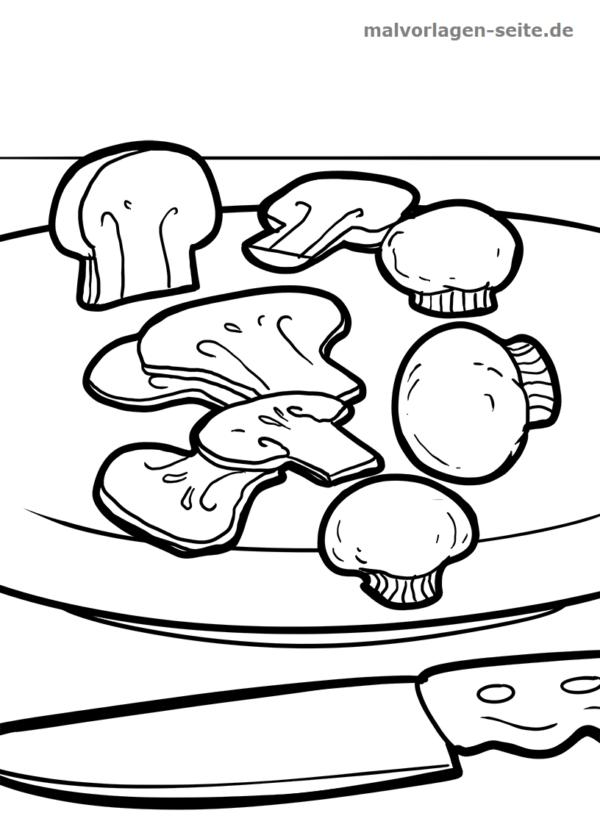 Malvorlage / Ausmalbild Pilze