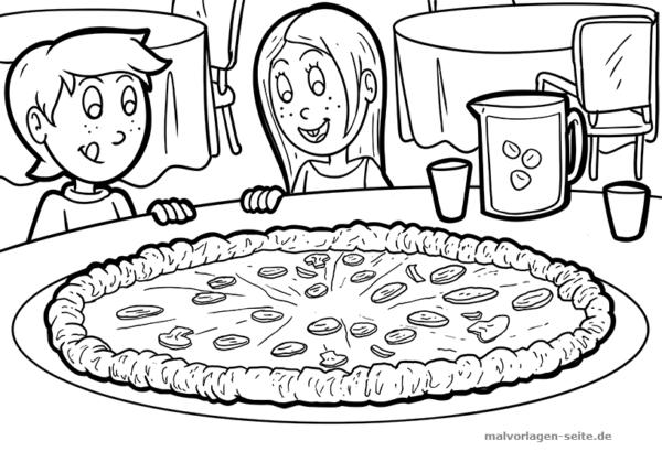 Malvorlage / Ausmalbild Pizza essen