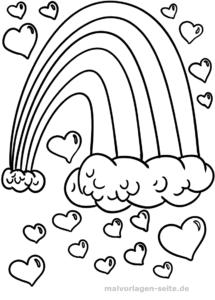 Malvorlage Regenbogen mit Herzen