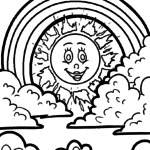 Coloring page rainbow and sun