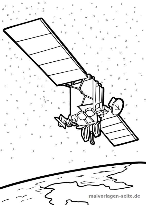 Malvorlage / Ausmalbild Satellit