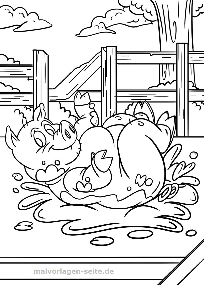Malvorlage Schwein Tiere Bauernhof