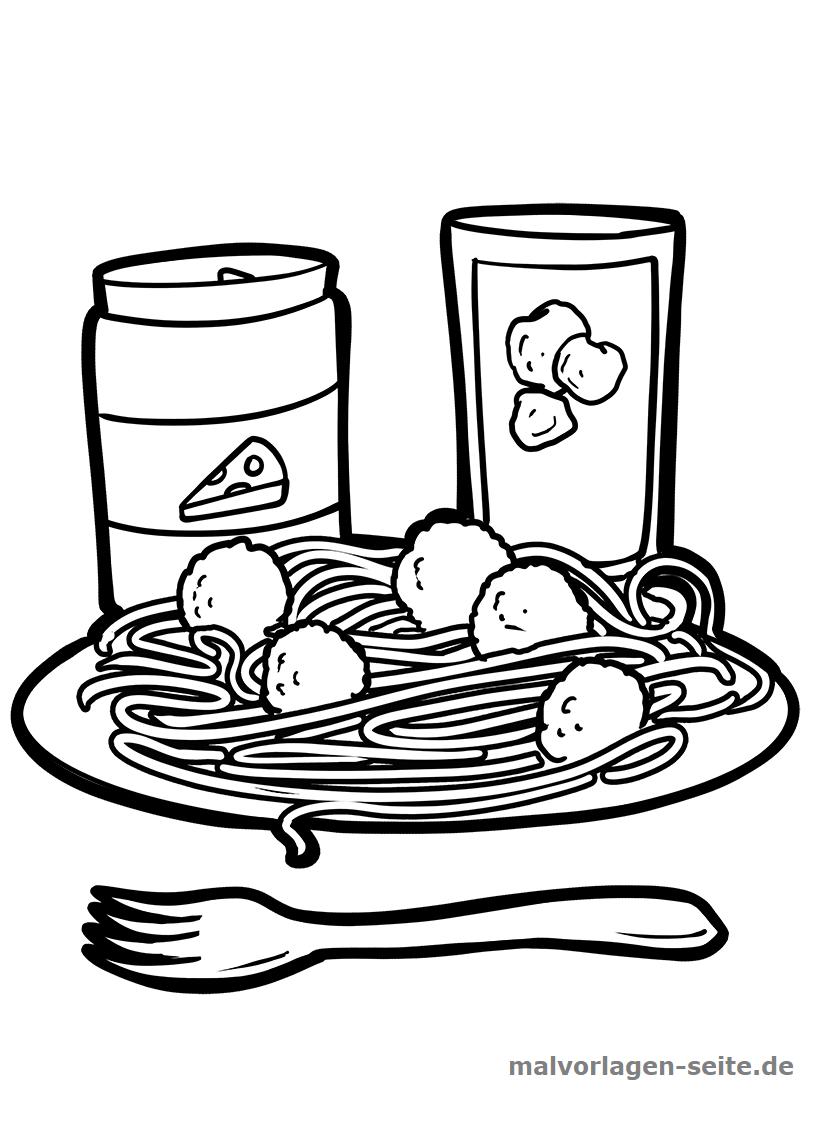 Malvorlage Spaghetti  Essen - Kostenlose Ausmalbilder