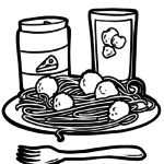 Coloring page Spaghetti | eat