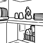 Coloring page dishwasher | household