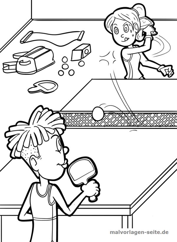 Malvorlage / Ausmalbild Tischtennis
