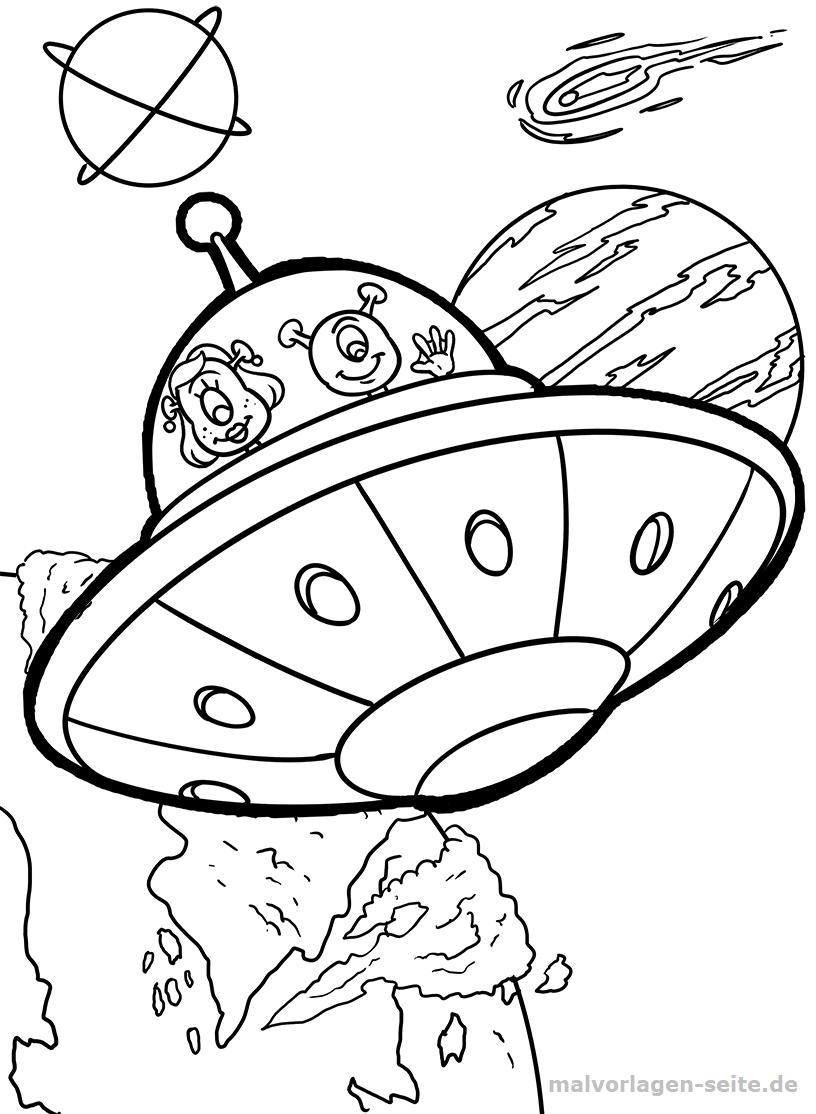 Malvorlage Ufo im Weltall | Gratis Malvorlagen zum Download