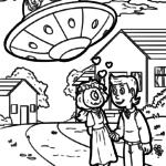Размалёўкі касмічныя НЛА прышэльцаў - размалёўкі