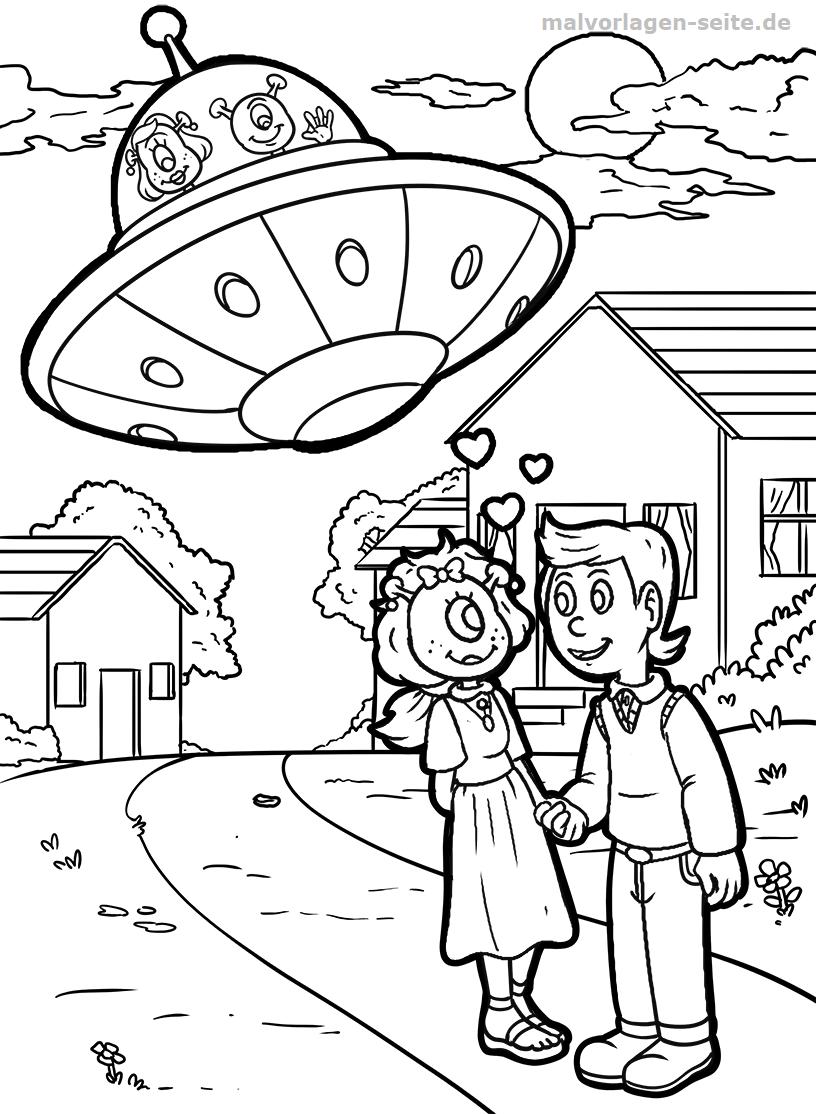 Malvorlage UFO auf der Erde | Gratis Malvorlagen zum Download