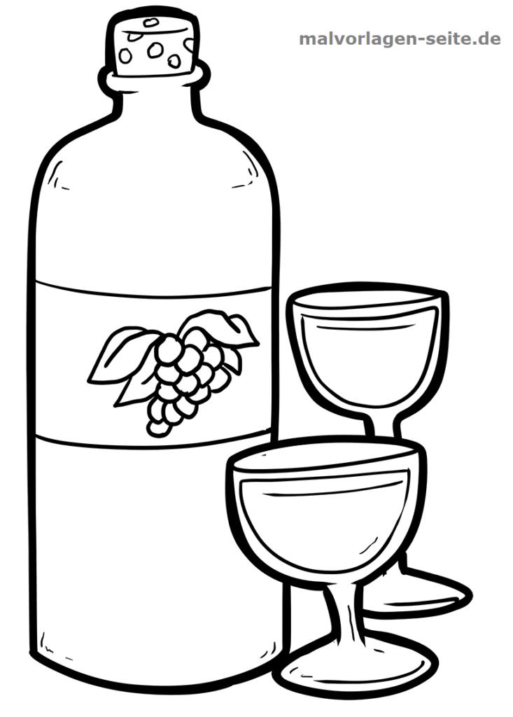 malvorlage weinflasche weinglas | gratis malvorlagen zum