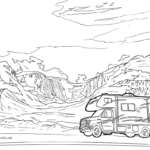 Coloring page camper / RV camping vehicles