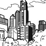 Malvorlage Wolkenkratzer | Gebäude