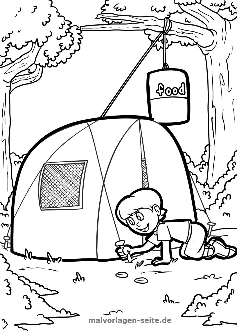 Malvorlage Zelten / Camping | Gratis Malvorlagen zum Download