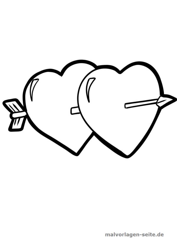 Malvorlage / Ausmalbild Zwei Herzen mit Pfeil