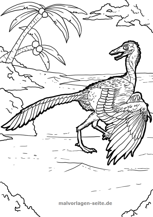 Coloring page dinosaur Archeopteryx
