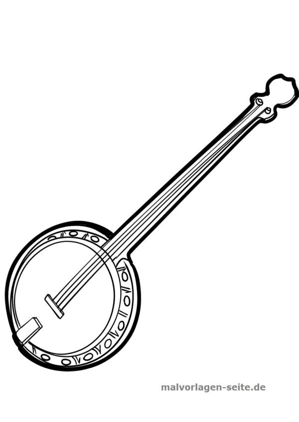 Malvorlage Musikinstrument Banjo