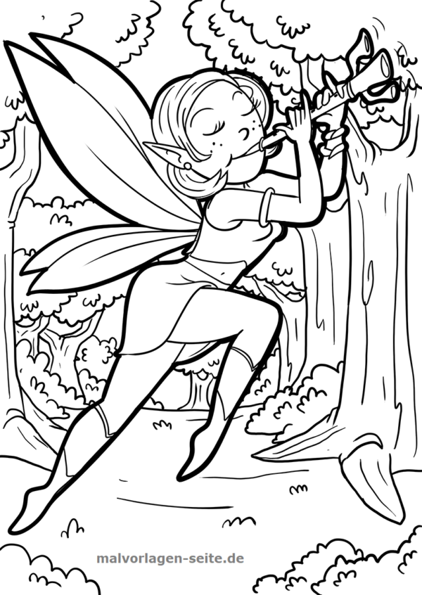 Coloring page elf with flute