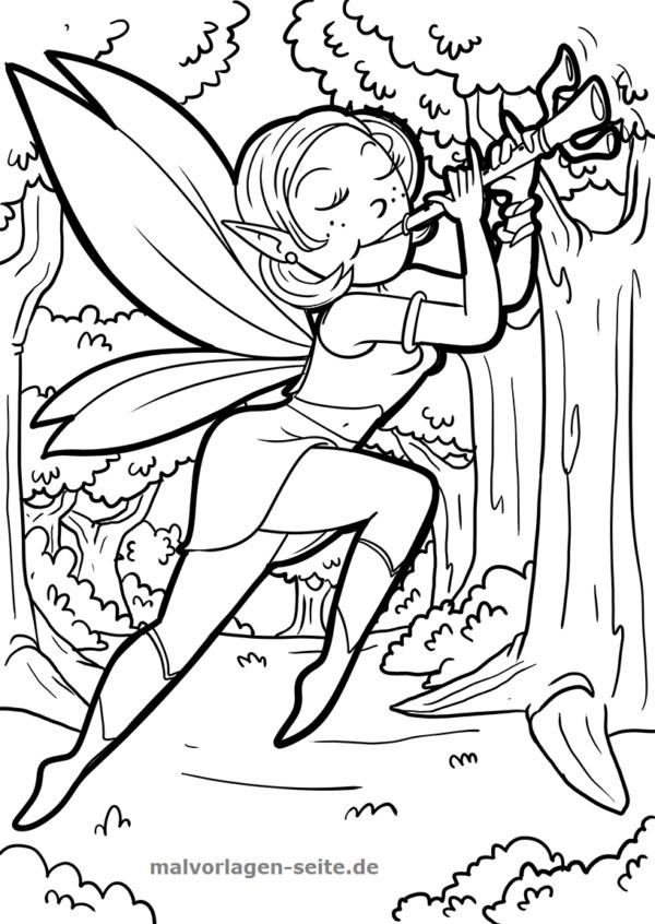 Malvorlage Elfe mit Flöte