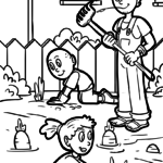 Coloring page family in the garden