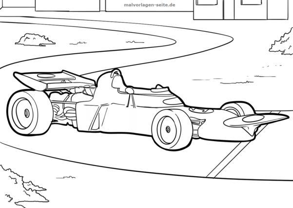 Malvorlage / Ausmalbild Formel 1 Auto
