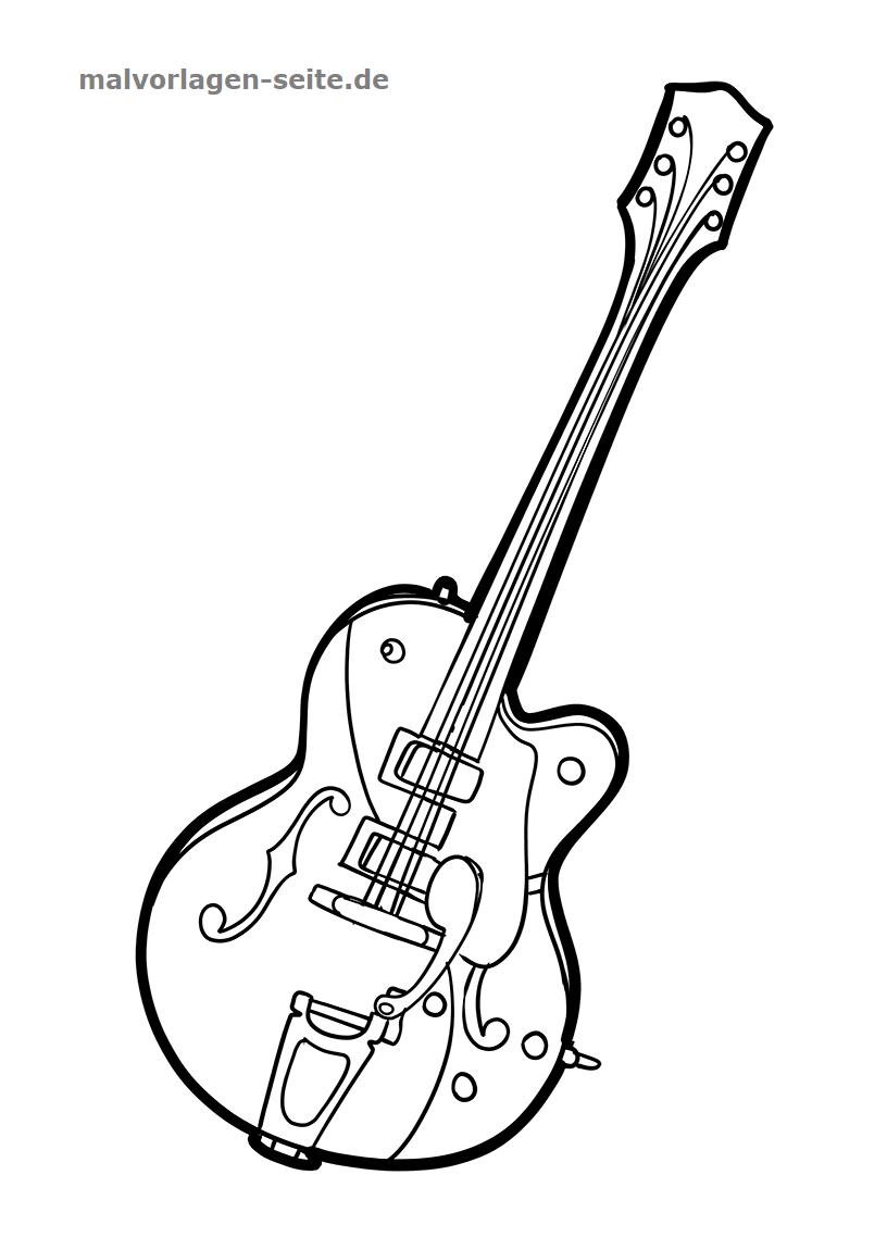Malvorlage Gitarre Musik