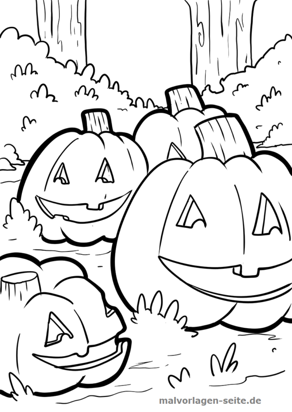 Ausmalbild Kurbis Halloween Kostenlose Malvorlage 4